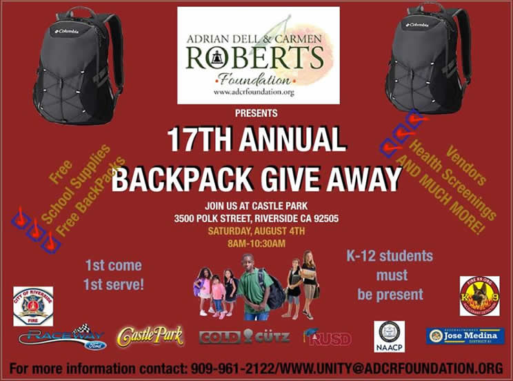 Backpack Giveaway at Castle Park in Riverside