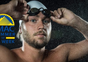 CBU Swimmer Robert Griffith, photo by Jacob Gonzalez