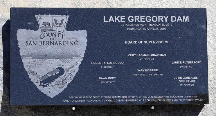 Lake Gregory Dam Plaque