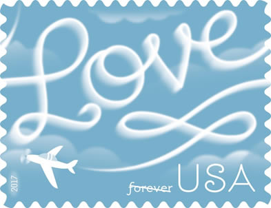 Love Forever USA Airplane Stamp 2017