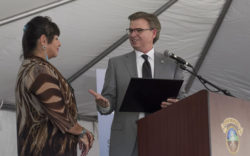 SB Works - Goodwill CEO and President Patrick McClenahan presents San Manuel Band of Mission Indians Chairwoman with a plaque to commemorate the Tribe's $3.4M grant