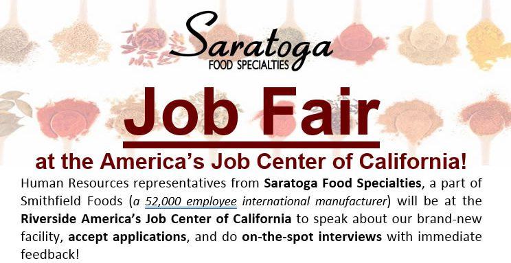 Saratoga Food Specialties Job Fair