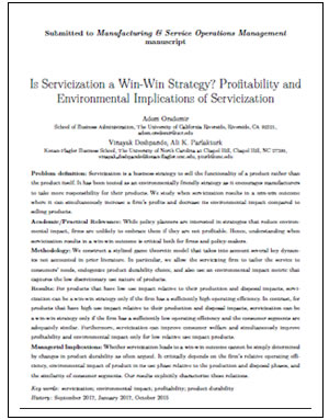 Servicization - Manufacturing & Environmental Responsiblity